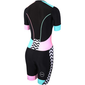 Zone3 Activate Plus Trisuit korte mouwen Dames, zebra fly-black/green/pink/white
